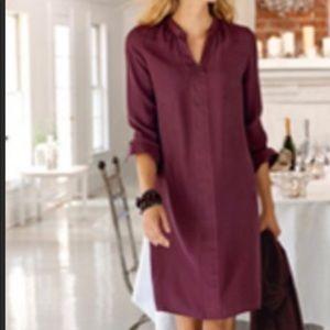 J Jill Winterberry Silk Tunic Dress Burgundy